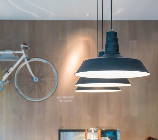 hanging lamp in cafe shop